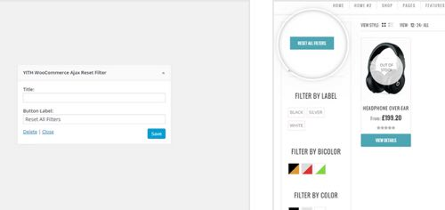 reset filter en woocommerce