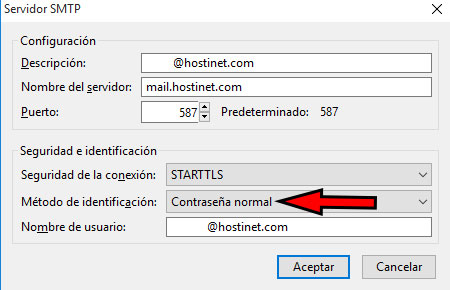 thunderbird servidor smtp contraseña normal