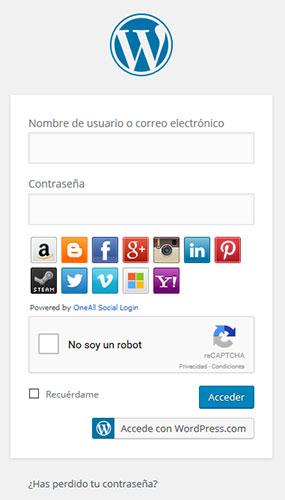 wp admin - página logueo