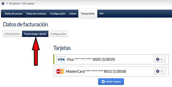Area de usuario de Hostinet - Mi Cuenta (Facturación - Pago Rápido)