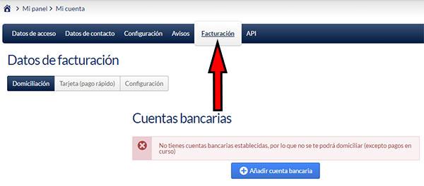 Area de usuario de Hostinet - Mi Cuenta (Facturación)