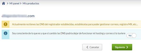 No tienes DNS de Hostinet