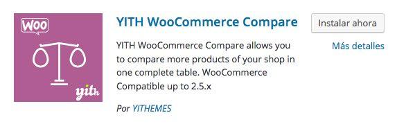 WooCommerce Compare plugin para WordPress
