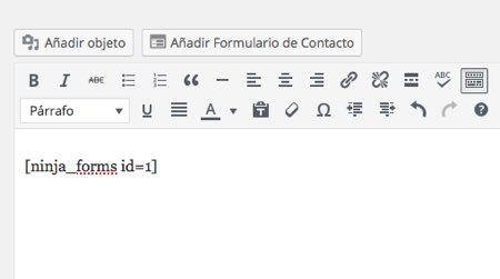 codigo ninja forms wordpress