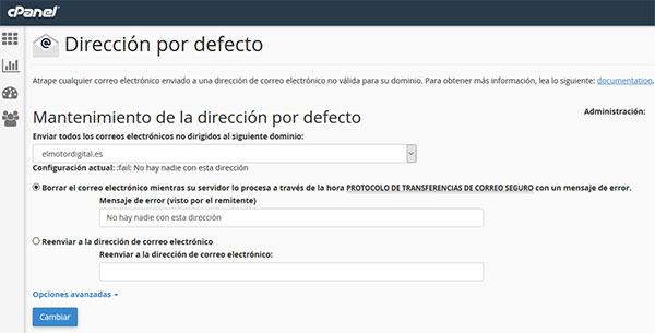 cPanel - Direción Predeterminadas -> Borrar el correo electrónico mientras su servidor lo procesa...
