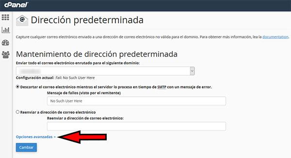 cPanel - Direción Predeterminadas -> Opciones Avanzadas