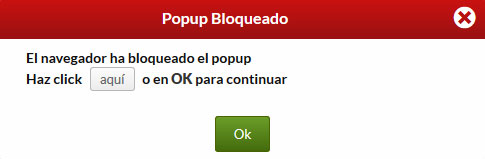 popup bloqueado - acceso hosting