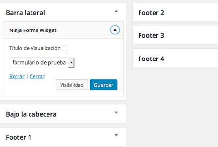 widget ninja form en wordpress