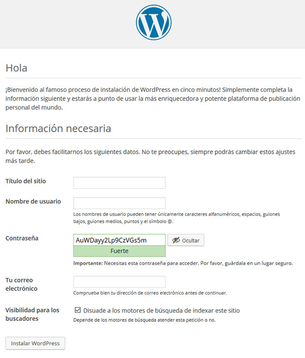 wp instalación manual titulo admin