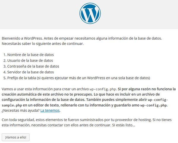 wp página bienvenida