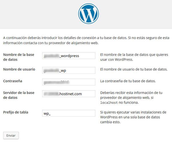 wp página instalación datos