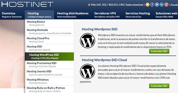 Hostinet SSD WordPress