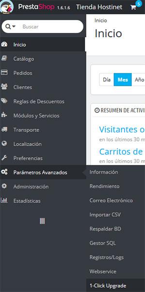 PrestaShop - Parametros Avanzados - 1 Click Upgrade