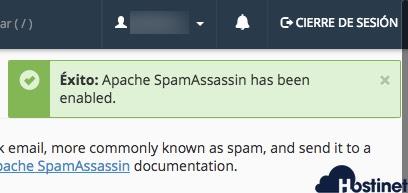 exito spam filter activado en cPanel