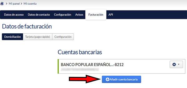 Hostinet Facturación - Añadir Cuenta Bancaria