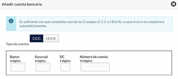 Hostinet Facturación - Añadir Cuenta Bancaria 2