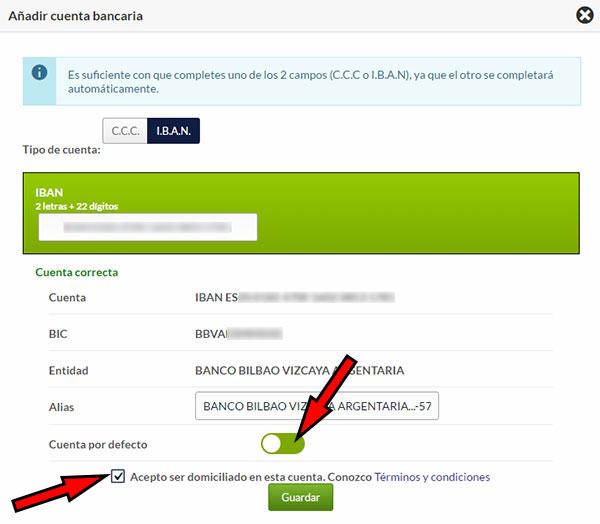 Hostinet Facturación - Añadir Cuenta Bancaria 3