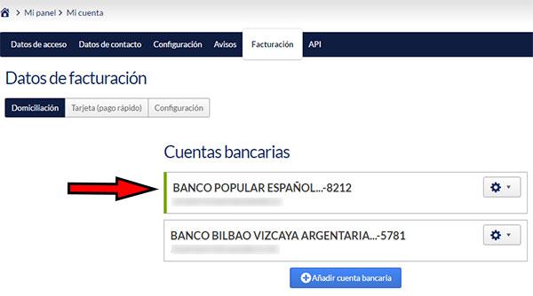 Hostinet Facturación - Cuentas Bancarias (Barra verde)