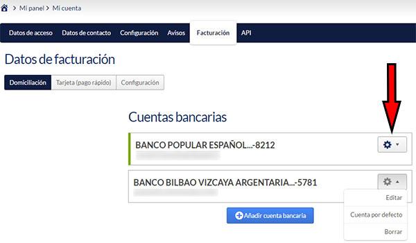 Hostinet Facturación - Cuentas Bancarias (Opciones)
