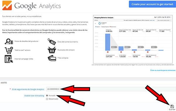 PrestaShop -> Módulos Servicios -> Google Analytics (Configuración)