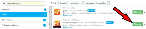 PrestaShop -> Módulos Servicios -> Google Analytics (Instalar)