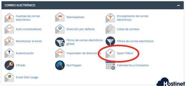 spam filters icono en cPanel
