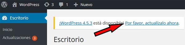Actualizar WordPress 4.5.3