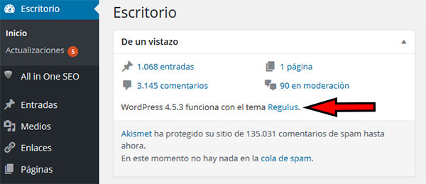 WordPress 453 funciona regulus