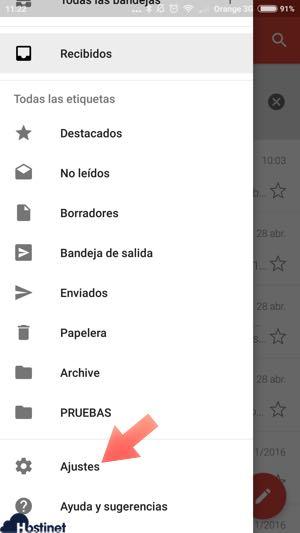 ajustes cuentas app gmail