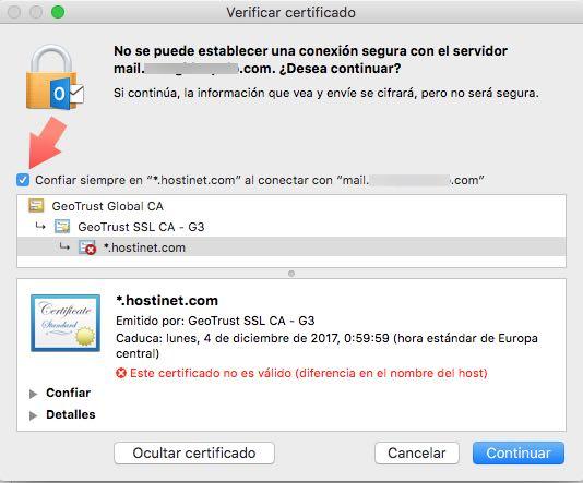 confiar certificado Hostinet