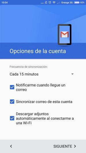 cuenta configurada en gmail