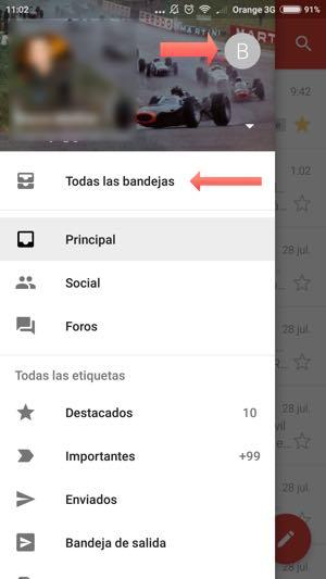 menu izquierda en app gmail android