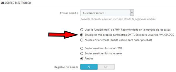 Prestashop parametros avanzados correo electronico SMTP Avanzado