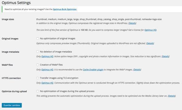 opciones optimus wordpress