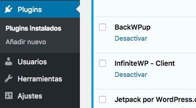 plugins instalados en WordPress