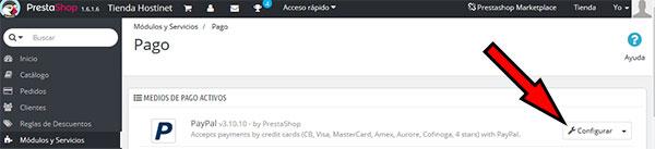 Configurar módulo PayPal en PrestaShop