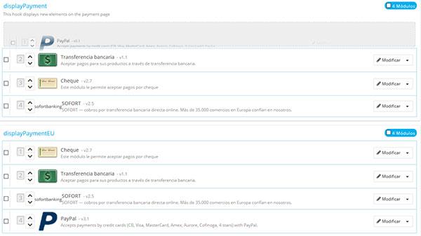 PrestaShop Módulos y Servicios  -> Posición de los módulos (arrastrar)