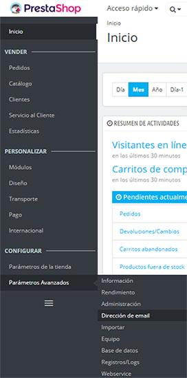 PrestaShop 1.7 - Parámetros Avanzados Dirección de Email