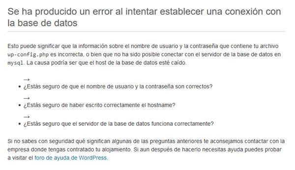 error conexion bd-wpadmin WordPress