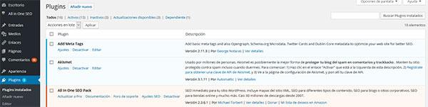 WordPress Backoffice Página Plugins
