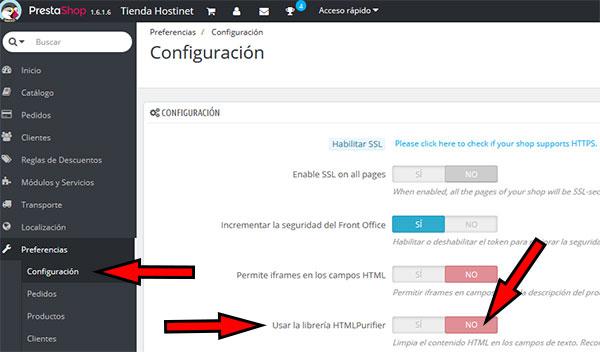 PrestaShop Preferencias Configuración Libreria HTMLPurifier OFF