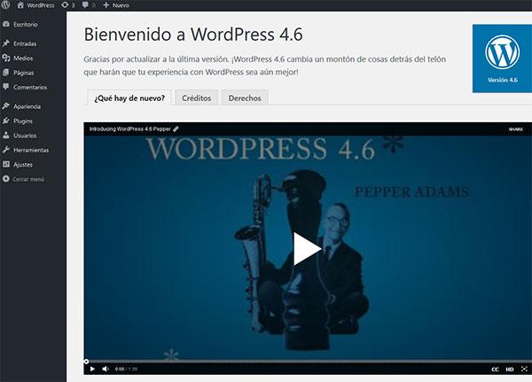 Bienvenido WordPress 4.6