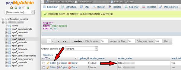 phpmyadmin tabla options editar