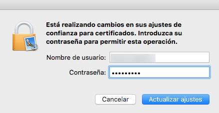 actualizar ajustes contraseña Mac OS X