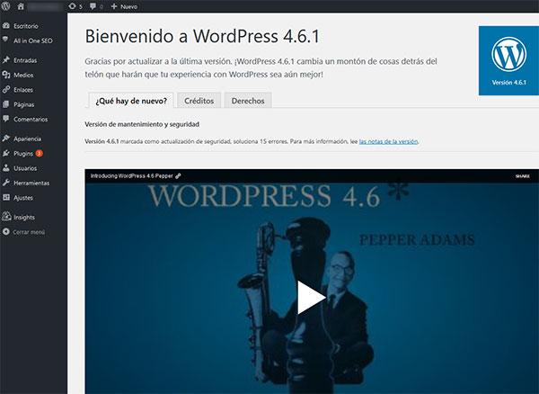 Bienvenido WordPress 4.6.1