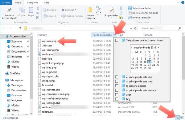 buscar fechas en windows 10