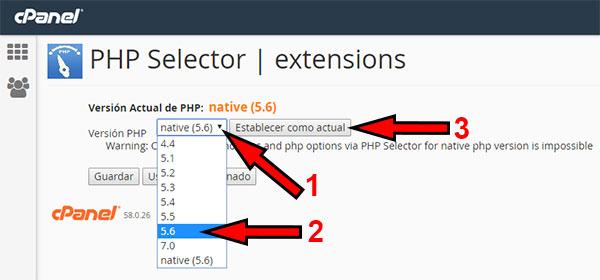 Cambio php 5.6 desde selector