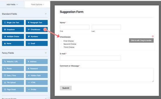 checkboxes wpforms