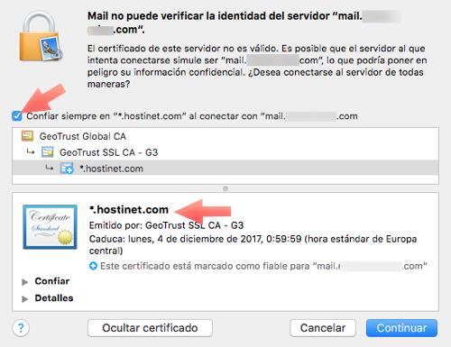 confiar en el certificado de seguridad