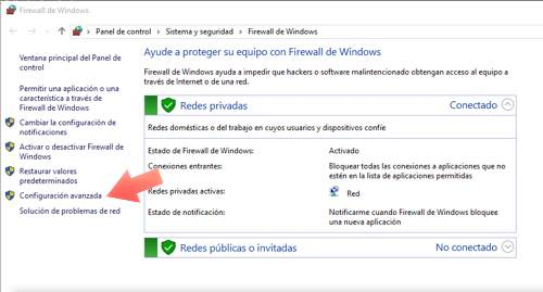 configuracion avanzada firewall